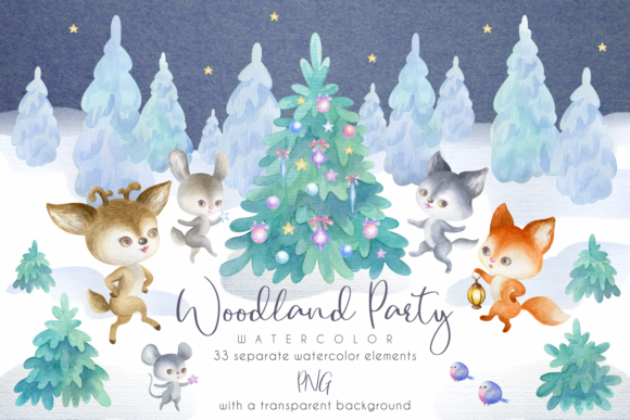 Print on Demand: Woodland Party. Watercolor Christmas Set Graphic Illustrations By Olga Belova - Image 1