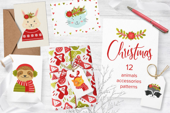 Print on Demand: Cute Animals. Christmas Party Graphic Illustrations By KatiaZhe