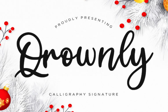 Print on Demand: Qrownly Script & Handwritten Font By CreatypeStudio