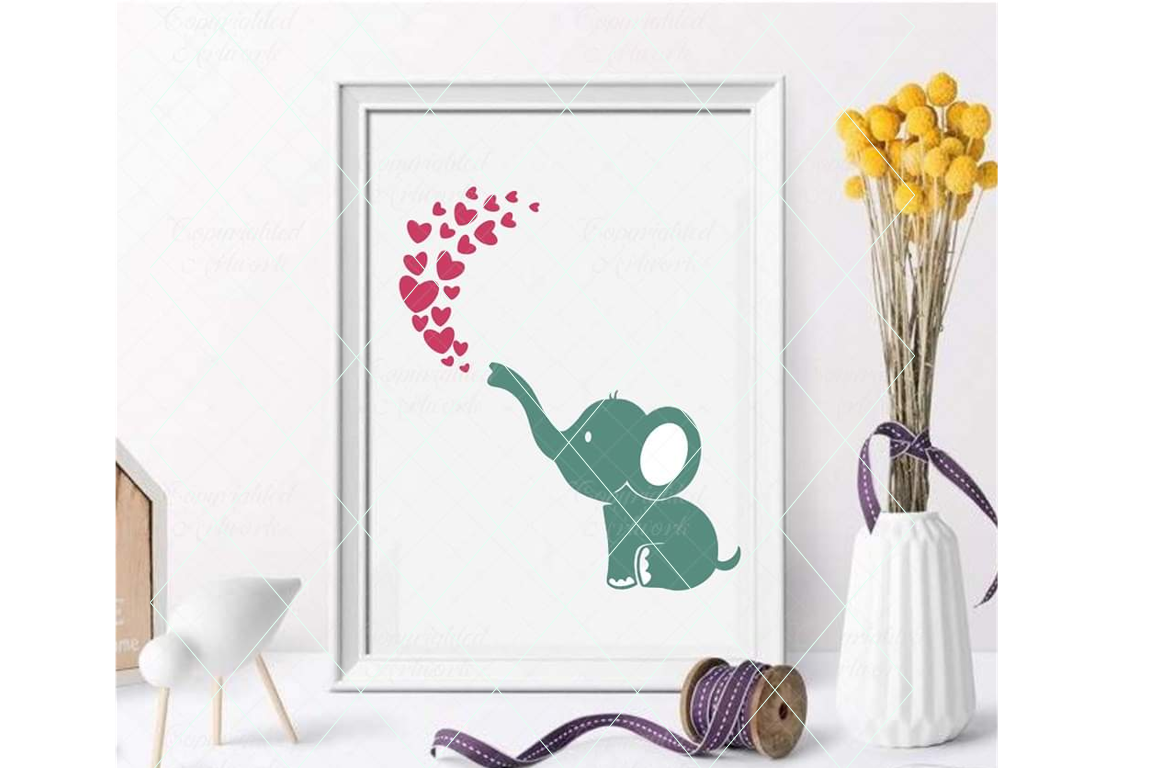 Download Free Elephant Breathing Hearts Graphic By Thelovebyrds Creative Fabrica for Cricut Explore, Silhouette and other cutting machines.