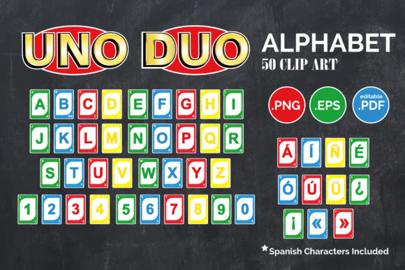 Print on Demand: UNO Card EPS PNG Clipart with Spanish Graphic Illustrations By adlydigital
