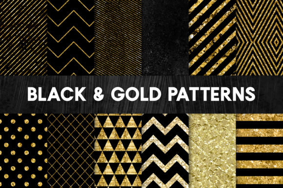Print on Demand: Black and Gold Foil Patterns - Stylish Graphic Patterns By illuztrate