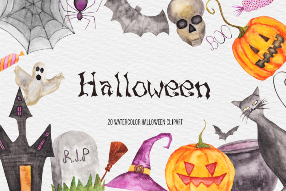 Watercolor Halloween Clipart, Pumpkin Graphic Illustrations By BonaDesigns