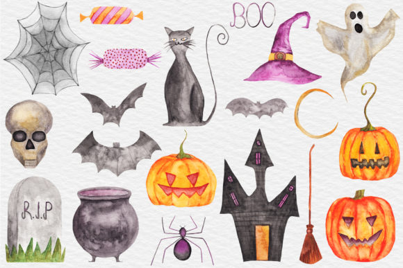 Download Free Watercolor Halloween Clipart Pumpkin Graphic By Bonadesigns for Cricut Explore, Silhouette and other cutting machines.
