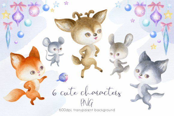 Print on Demand: Woodland Party. Watercolor Christmas Set Graphic Illustrations By Olga Belova - Image 2