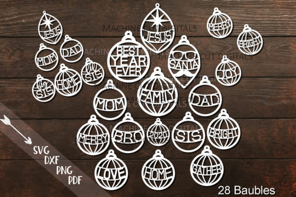 Download Free Family Christmas Baubles Svg Laser Cut Graphic By Cornelia for Cricut Explore, Silhouette and other cutting machines.