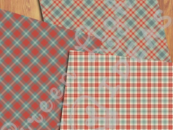 Christmas Plaid Tartan Digital Papers Graphic Backgrounds By GreenLightIdeas - Image 3