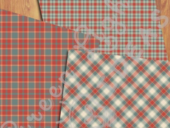 Christmas Plaid Tartan Digital Papers Graphic Backgrounds By GreenLightIdeas - Image 5