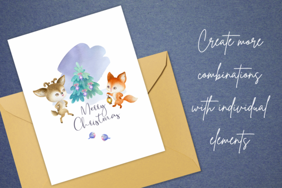 Print on Demand: Woodland Party. Watercolor Christmas Set Graphic Illustrations By Olga Belova - Image 7