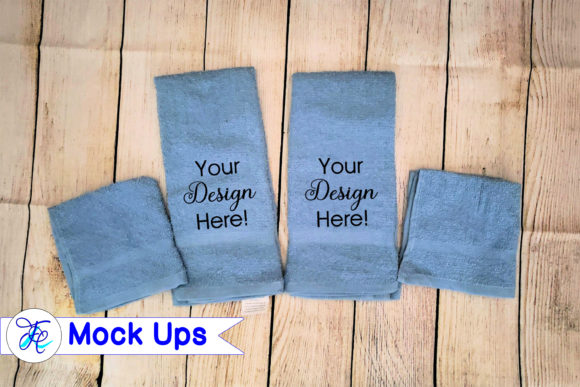 Download Free Blue Bathroom Hand Towels Mock Ups Graphic By Family Creations for Cricut Explore, Silhouette and other cutting machines.
