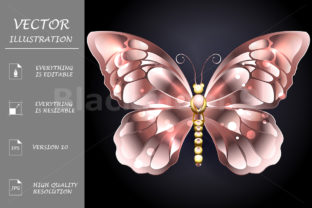 Butterfly in Pink Gold Graphic Illustrations By Blackmoon9