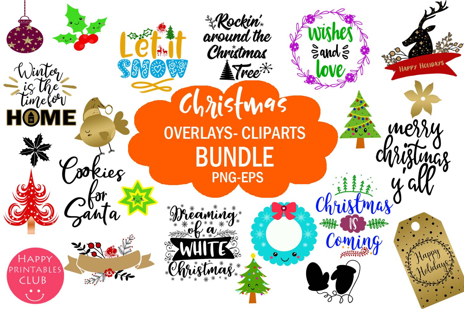 Download Free Christmas Overlays Clipart Bundle Grafik Von Happy Printables for Cricut Explore, Silhouette and other cutting machines.