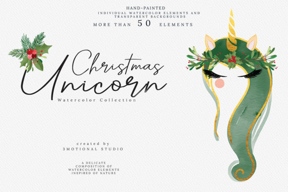 Christmas Unicorns Watercolor Graphic By 3Motional