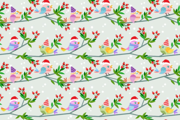 Download Free Christmas Bird On Branch Pattern Graphic By Ranger262 for Cricut Explore, Silhouette and other cutting machines.