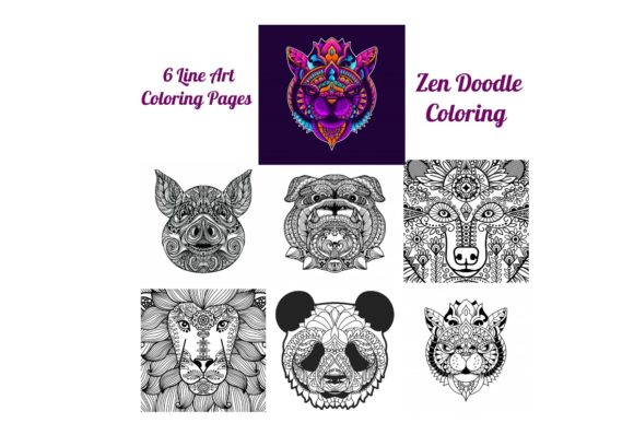 Print on Demand: Line Art Wild Animals Coloring Pages Graphic Coloring Pages & Books Adults By Scrapbook Attic Studio