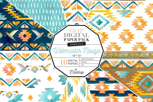 Print on Demand: Digital Paper Watercolor Navajo Set 02 Graphic Patterns By Maishop - Image 1