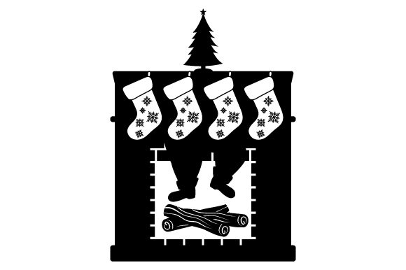 Fireplace Silhouette with Christmas Stockings and Silhouette of Santa's Boots and Legs Coming Through Christmas Craft Cut File By Creative Fabrica Crafts - Image 1