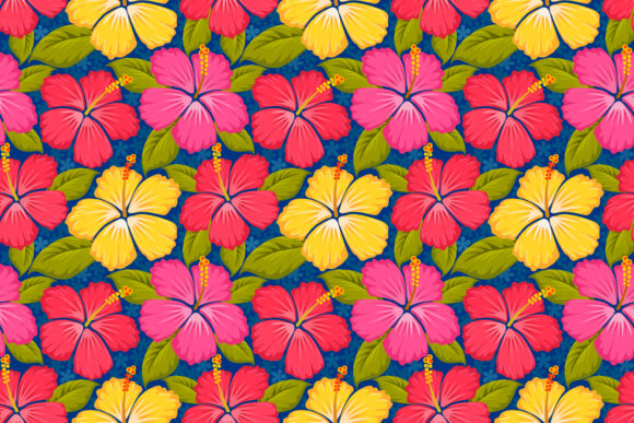 Colorful Hibiscus Flowers Pattern. Graphic Patterns By ranger262