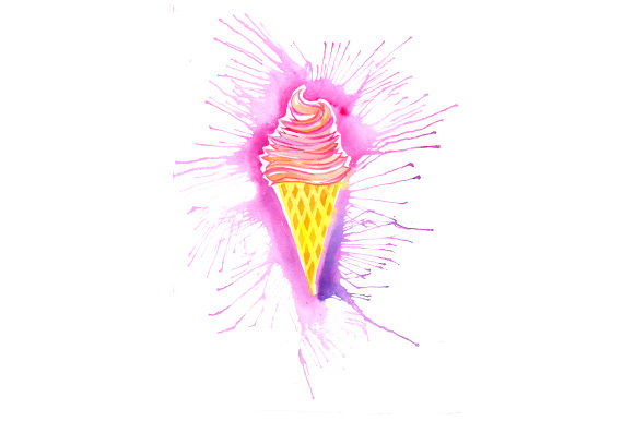 Ice Cream Cone in Paint Splatter Watercolor Style Summer Craft Cut File By Creative Fabrica Crafts