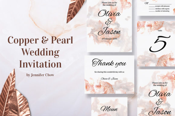 Download Free Copper And Pearl Wedding Invitation Suit Graphic By Jennifer for Cricut Explore, Silhouette and other cutting machines.