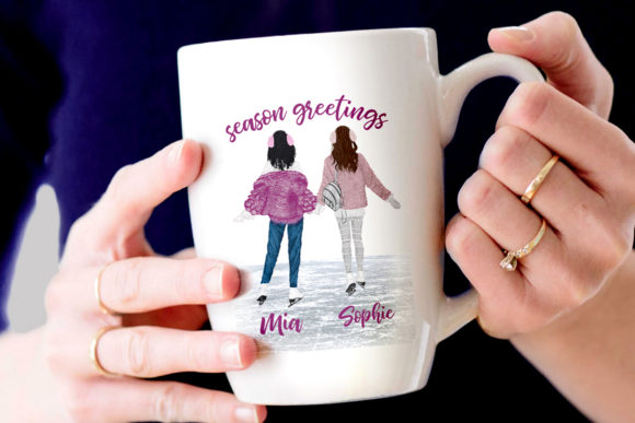 Winter Girls Ice Skating Clipart Graphic Illustrations By LeCoqDesign - Image 8