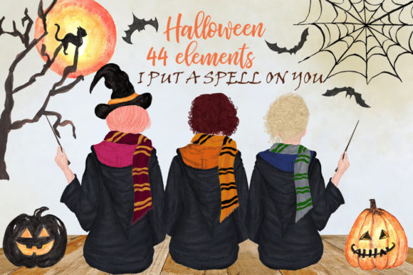Halloween Girls Clipart Graphic Illustrations By LeCoqDesign - Image 1