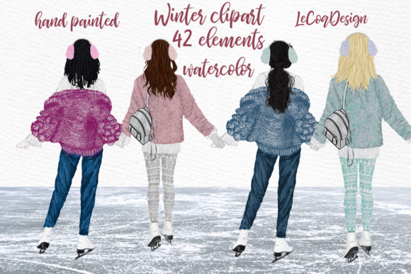 Winter Girls Ice Skating Clipart Graphic Illustrations By LeCoqDesign - Image 1
