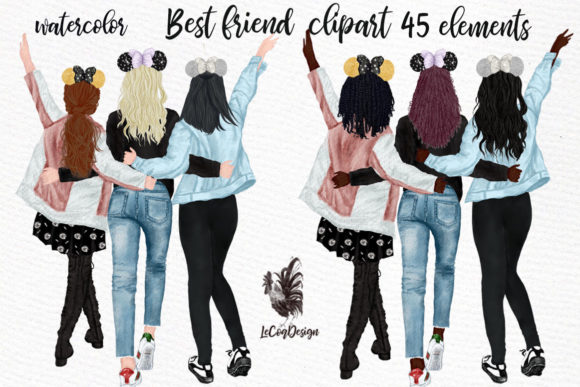 Best Friends Girls Clip Art Graphic Illustrations By LeCoqDesign - Image 4