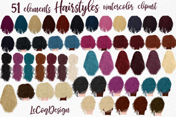 Hairstyles Clipart,Girls Clipart, Dreads Graphic Illustrations By LeCoqDesign
