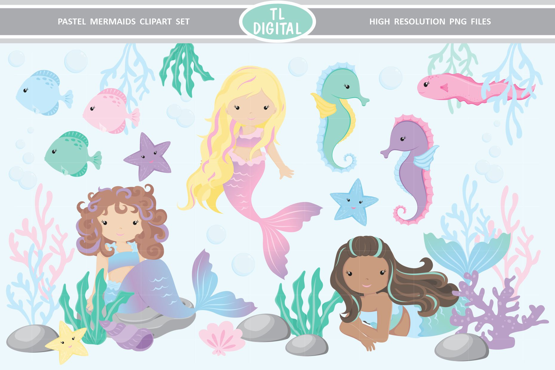 Pastel Mermaid Clipart 29 Png Graphics Graphic By Tl Digital