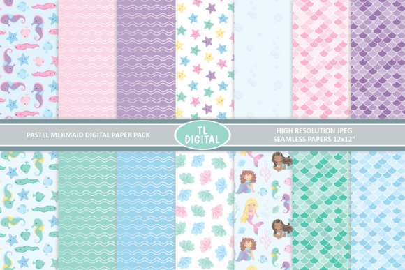 Pastel Mermaids Paper Pack - 14 Patterns Graphic Patterns By TL Digital