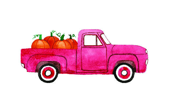 Pickup Truck with Pumpkins in Back - Watercolor Thanksgiving Craft Cut File By Creative Fabrica Crafts