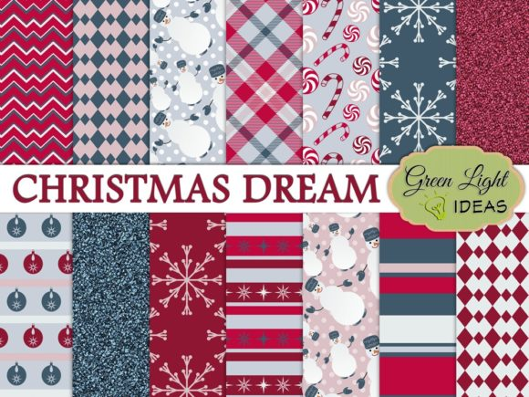 Christmas Holidays Scrabooking Papers Graphic By GreenLightIdeas Image 1