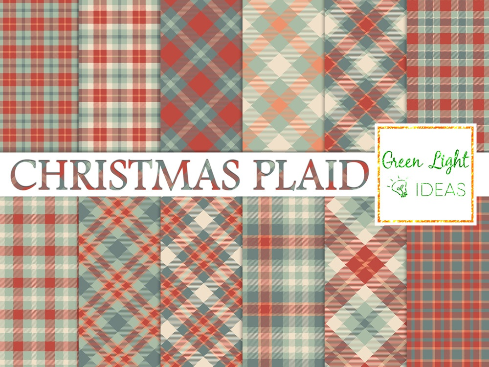 Download Free Christmas Plaid Tartan Digital Papers Graphic By Greenlightideas for Cricut Explore, Silhouette and other cutting machines.