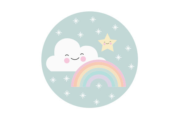Rainbow Cloud and Star Kids Craft Cut File By Creative Fabrica Crafts