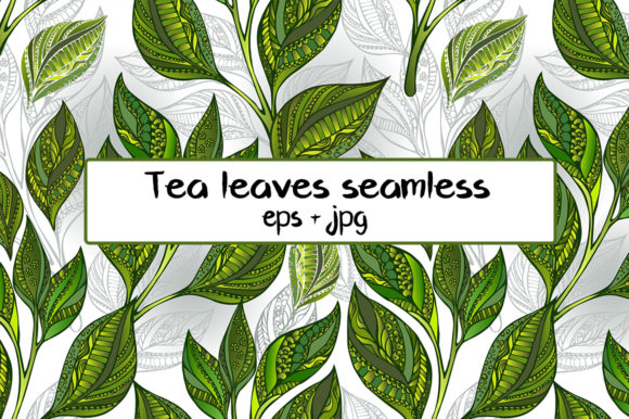 Download Free Seamless Pattern With Green Tea Leaves Graphic By Blackmoon9 for Cricut Explore, Silhouette and other cutting machines.