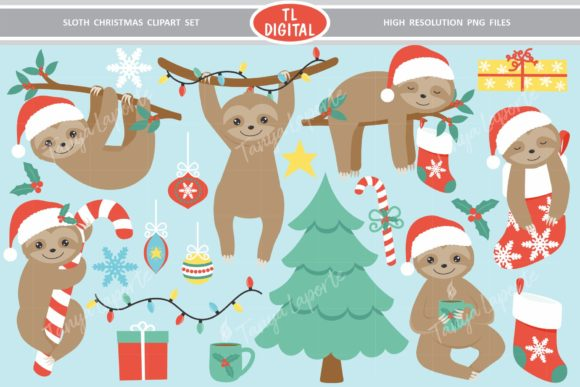 Sloth Christmas Collection 21 Graphics Graphic Illustrations By TL Digital