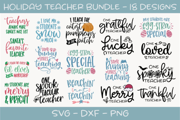 Holiday Teacher Bundle Graphic Crafts By GraceLynnDesigns
