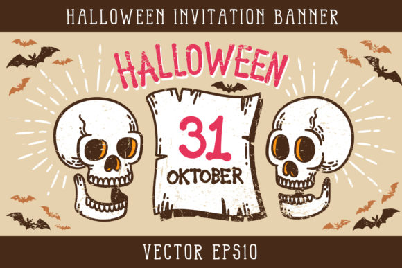 Halloween Invitation Banner Graphic By Agor2012