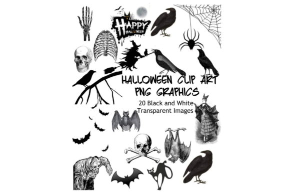 Print on Demand: 20 Assorted Black and White Halloween Gr Graphic Graphic Templates By Scrapbook Attic Studio