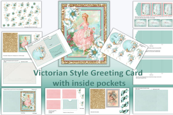 Download Free Victorian Greeting Card Ephemera Kit Graphic By The Paper for Cricut Explore, Silhouette and other cutting machines.