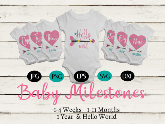 Print on Demand: Baby Heart - Arrow 1 Year Milestones Graphic Illustrations By CapeAirForce - Image 1