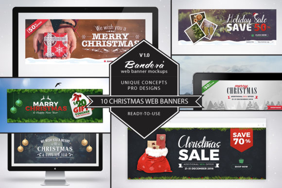Print on Demand: Bandera' (Christmas Web Banners) Graphic Web Elements By jumboicons