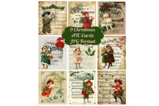 9 Vintage Christmas Ephemera ATC Cards Graphic By Scrapbook Attic Studio