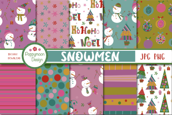 Print on Demand: Snowmen Paper Gráfico Moldes Por poppymoondesign