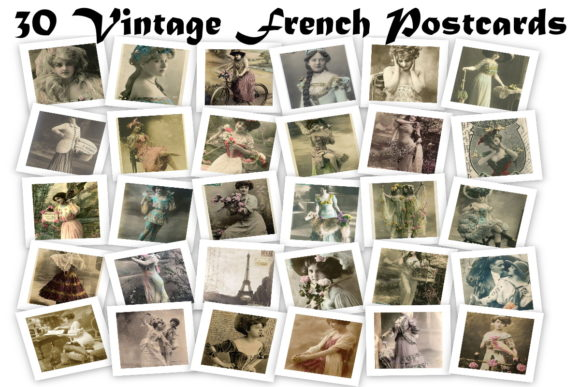 Print on Demand: 30 Vintage French Postcard Art Images Graphic Illustrations By Scrapbook Attic Studio