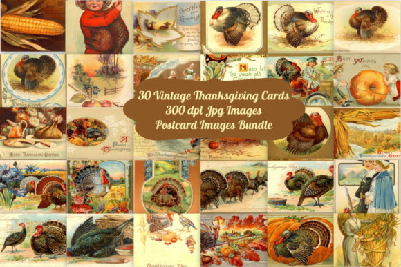 Print on Demand: 30 Vintage Thanksgiving Card Bundle Graphic Illustrations By Scrapbook Attic Studio