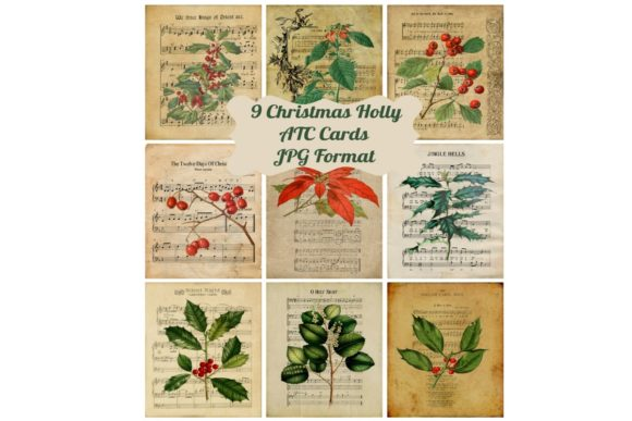 Print on Demand: 9 Vintage Holly Ephemera Cards Grafik Illustrationen von Scrapbook Attic Studio
