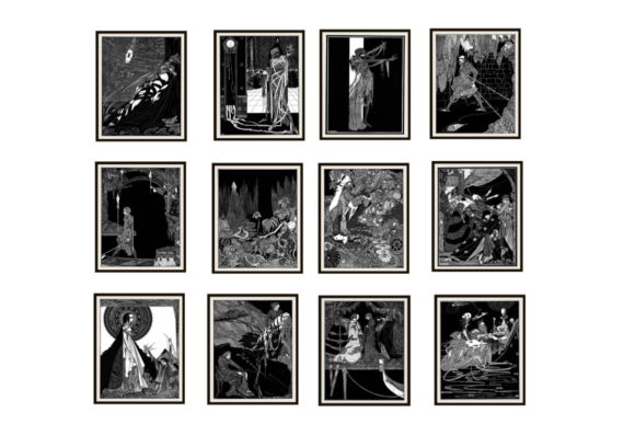 Print on Demand: Set of 12 Harry Clark Poe Art Images Graphic Illustrations By Scrapbook Attic Studio