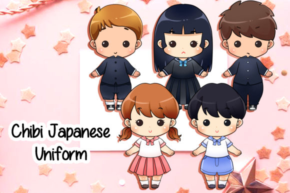 Download Free Cute Japanese Children In School Uniform Chibi Graphic By for Cricut Explore, Silhouette and other cutting machines.